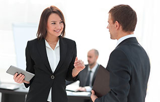Business Women is Looking to Man Eyes